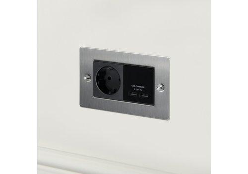 2G USB-Charger & Euro socket / Steel