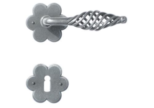 Iron door handles 'Spiralus flower' with BB