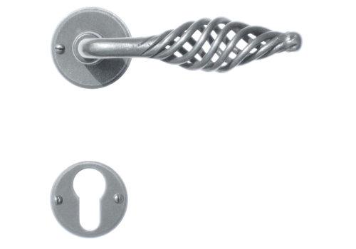 Iron door handles 'spiralus round' with PZ
