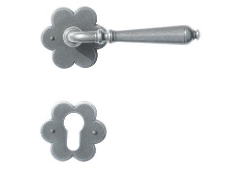 Iron door handles Elegeance flower with PZ