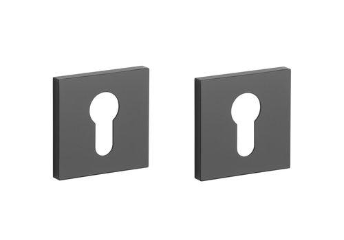 Black Cylinder Plates square 52x7mm