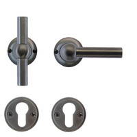 Anthracite gray door handles Petra T+L with cylinder plates