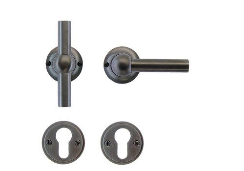 Anthracite gray door handles Petra T+L with PZ