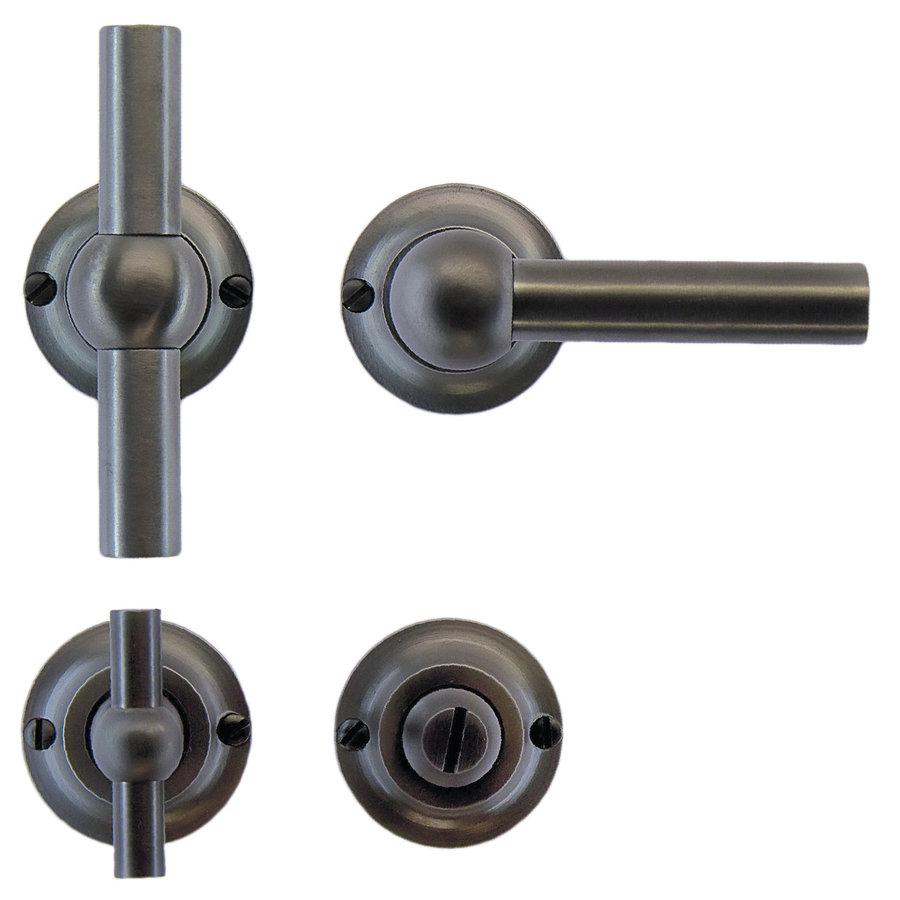 Anthracite gray door handles Petra T+L with toilet set