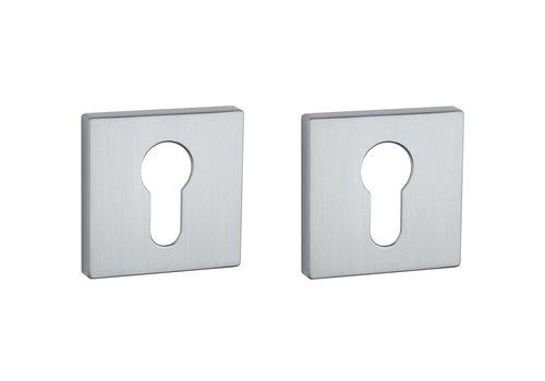 Cylinder plates square Chrome Satin 5mm