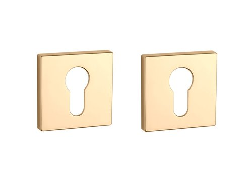 Cylinder plates square Gold polished 5mm