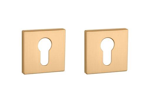 Cylinder plates square matt Gold 5mm