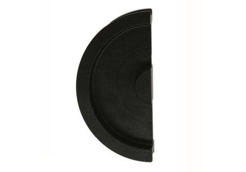 Schuifdeurkom halve maan massief 43mm zwart per stuk