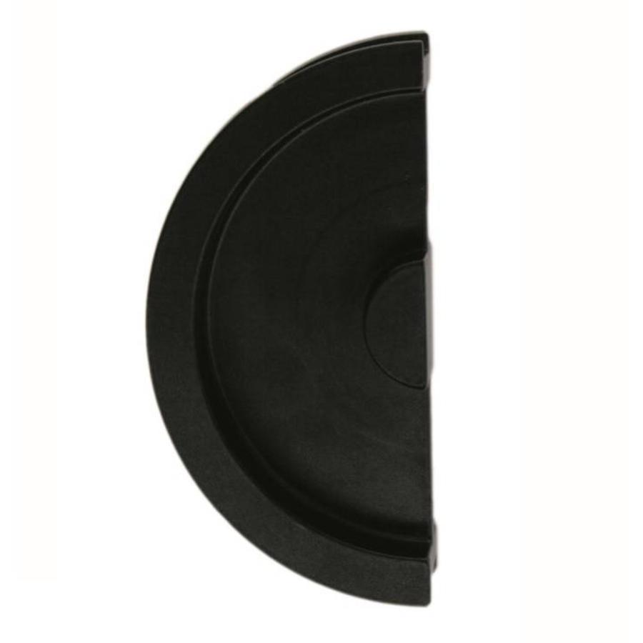 Schuifdeurkom halve maan massief 40mm zwart per stuk
