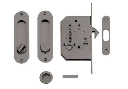 SLIDING DOOR FRA OVAL + LOCK INOX LOOK PER SET