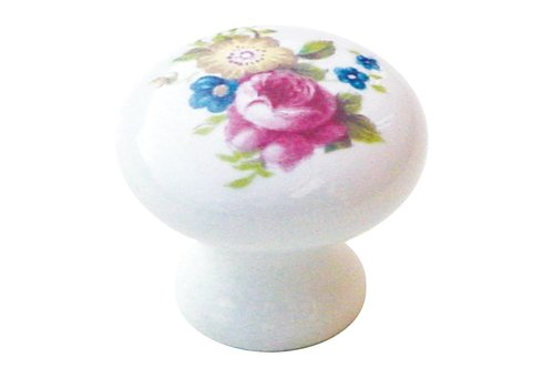 White porcelain cupboard puller with flower 25 mm
