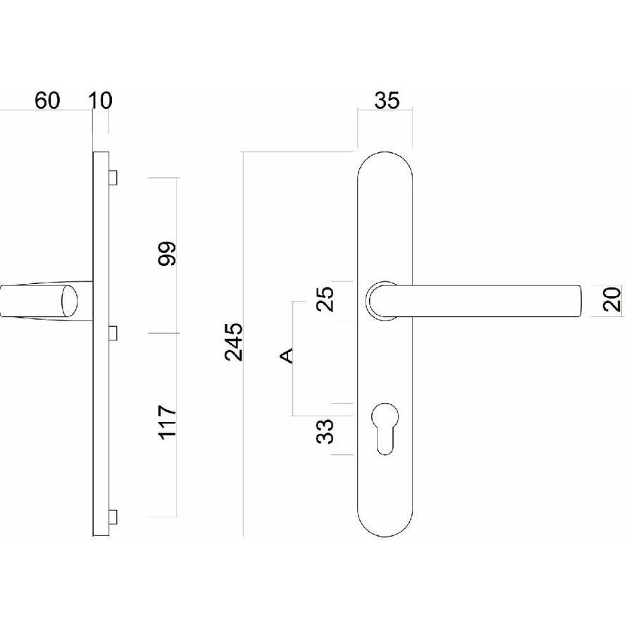 SECURITY SET HDD HANDLE + HANDLE INOX PLUS LOCK SIZE 92MM
