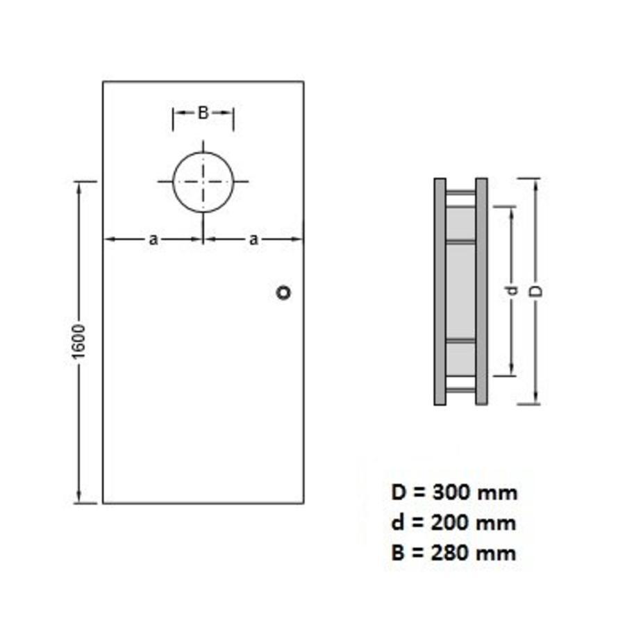RVS patrijspoort B1000 300mm + doorzichtig veiligheidsglas