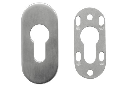 SAFETY CYLINDER PLATE OVAL STAINLESS STEEL 6MM
