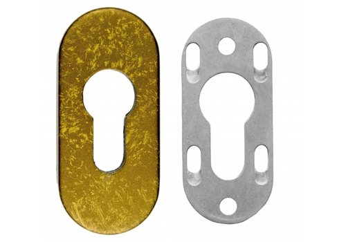 ENTREE CYLINDRE DE SECURITE OVALE OLD YELLOW 6MM
