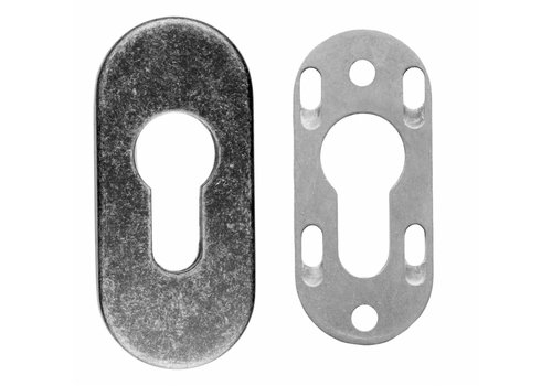 SAFETY CYLINDER PLATE OVAL OLD SILVER 9MM