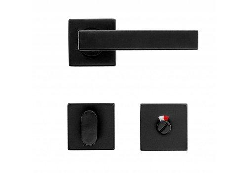 Zwarte deurklinken Cosmic met WC garnituur
