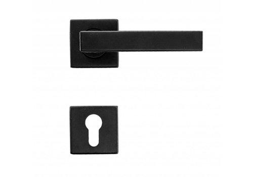 Poignées de porte Cosmic noires avec plaques cylindriques
