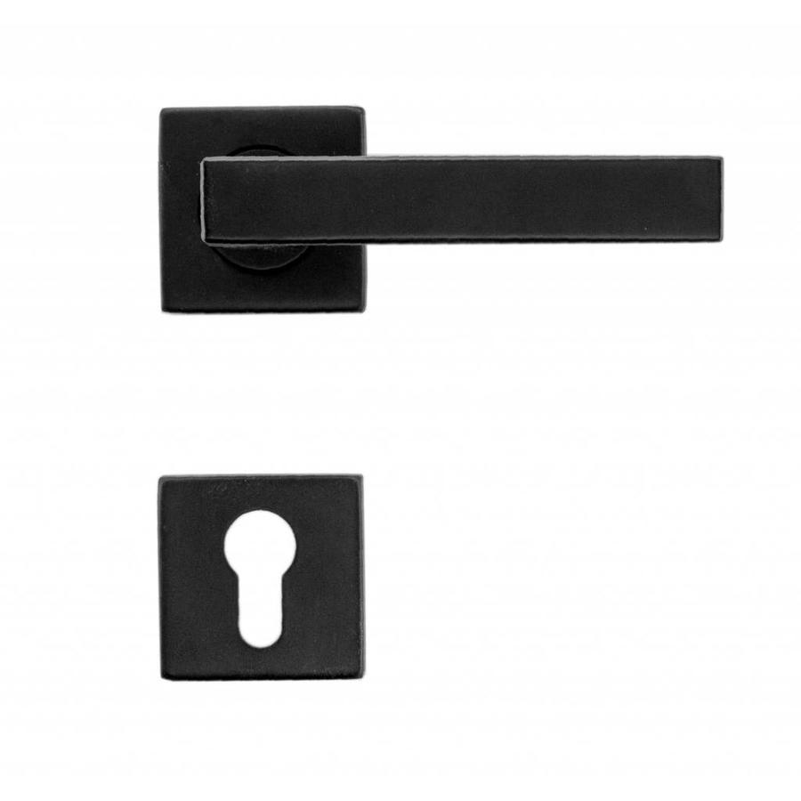 Zwarte deurklinken Cosmic met  profiel cilinderplaatjes