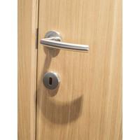 """RVS deurklinken """"Wals"""" 19 mm met WC garnituur"""