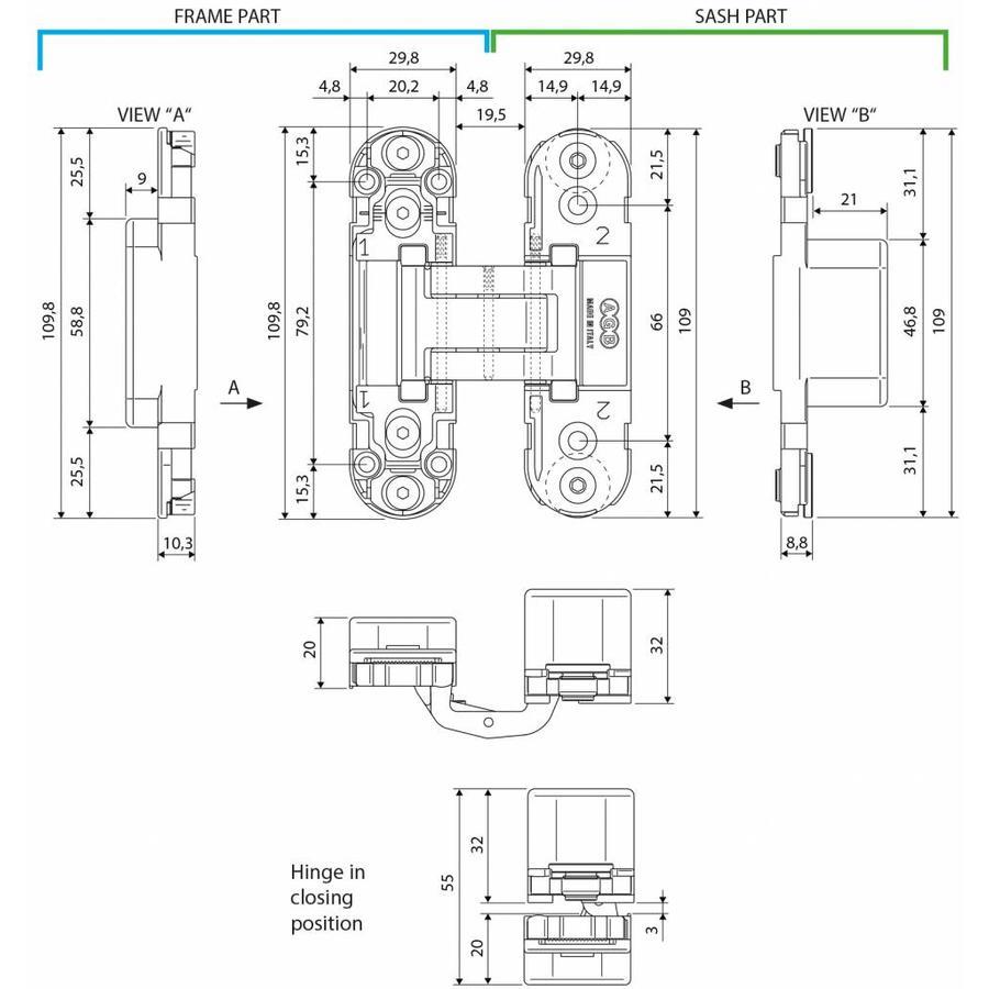 ONZICHTBAAR 3D SCHARNIER AGB ECLIPSE 2 INOX
