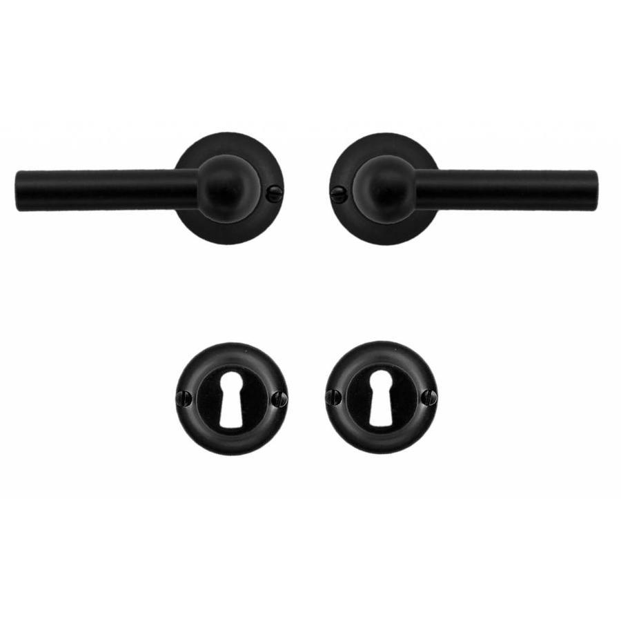Zwarte deurklinken Petra L+L zwart met sleutelplaatjes