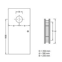 RVS Patrijspoort B2000 250 mm + doorzichtig veiligheidsglas en onzichtbare bevestiging