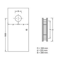 RVS Patrijspoort B2000 300 mm + 2 x doorzichtig veiligheidsglas