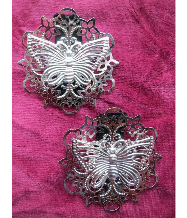Haarclip Schmetterling auf Ornament, silber