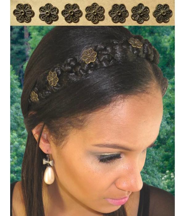 Flower Decoration for braid headband, bronze