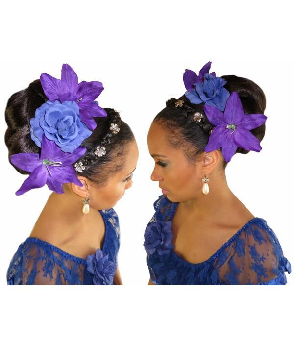 Flower Decoration for braided headband, silver