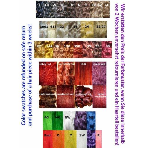 Farbmuster, Rückerstattung bei Haarteilbestellung
