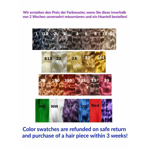 Color Swatches extra long hair, refunded on return