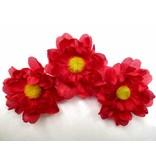 Red Daisy Hair Flowers
