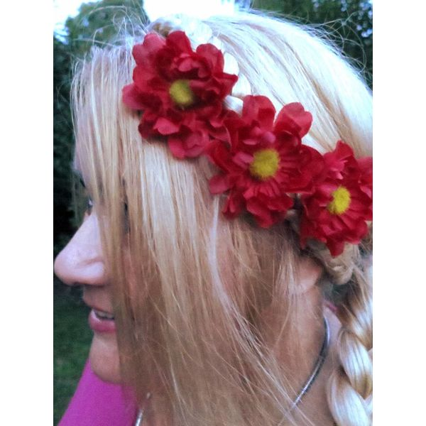 Red Daisy Hair Flowers