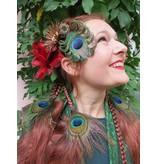 Pfauenfeder Fascinator Bronzeblume