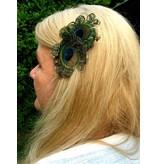 Pfauenfeder Schmetterling Haarclip, bronze