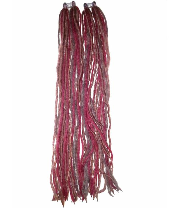Steampunk Clip-In Dreads, wine red - brown, limited