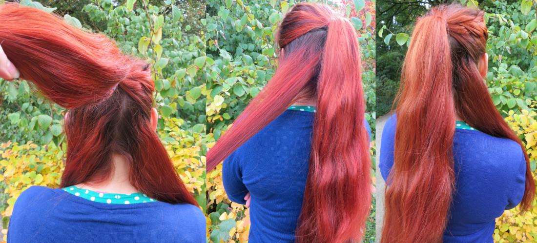 Zopfwunder Haarteil Befestigung Schritt 3: Haar zum Flechten einteilen
