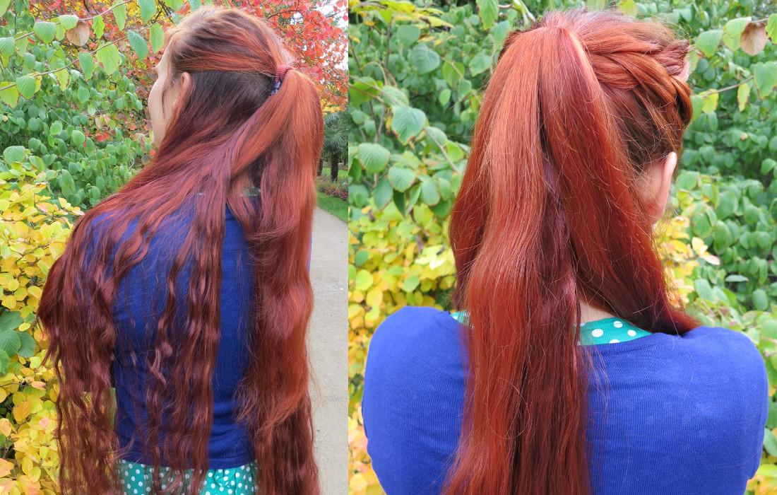 Befestigung des Zopfwunder Haarteils Schritt 3: Gleichmäßige Flechtstränge einteilen