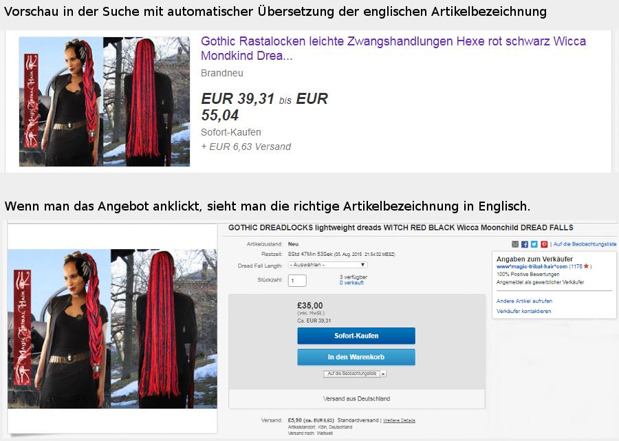 Gescheiterte automatische Übersetzung auf Ebay: Wenn Anglizismen verunstaltet werden.