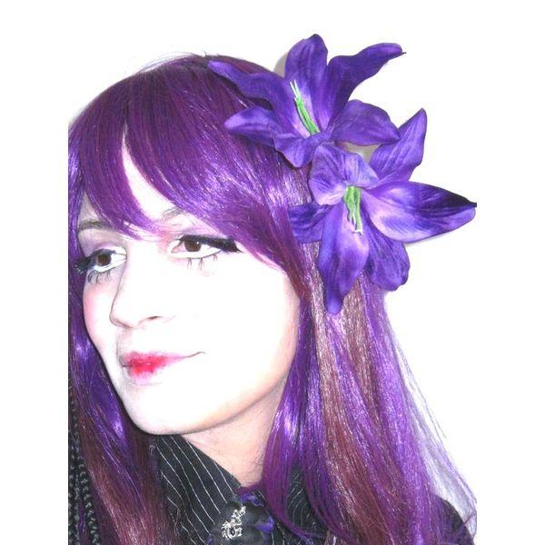 Hair Flower Purple Lily 2 x