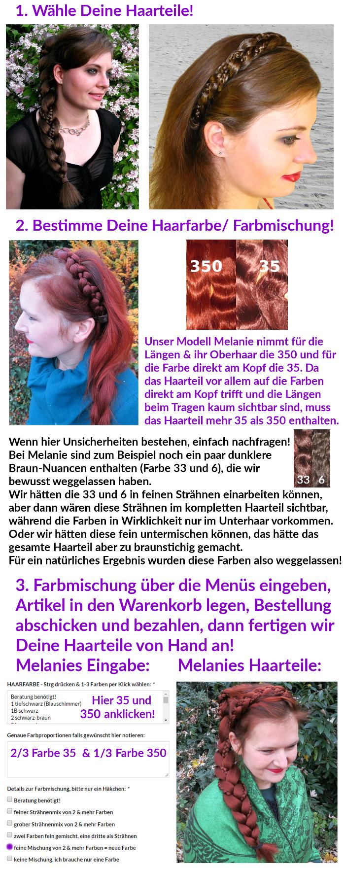 Schnellanleitung: Haarteil in eigener Haarfarbe bestellen!