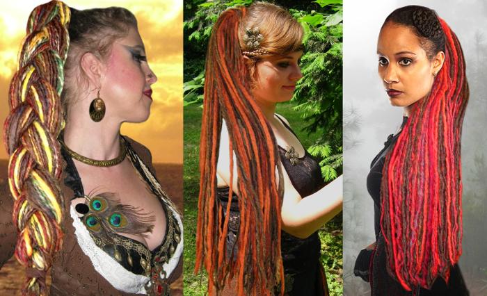 Dreadlocks Haarteile mit kastanienfarbenen Strähnen