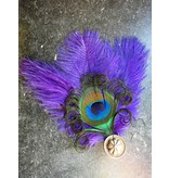 Ostrich & Peacock Feather Fascinator Flora