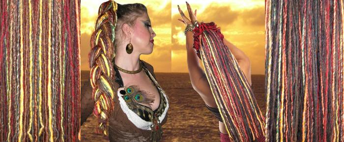 Gipsy Spirit Dreads links und Dark Gipsy Spirit Dreads rechts im Bild.