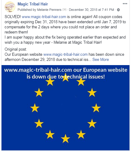 post on the Magic Tribal Hair page on facebook