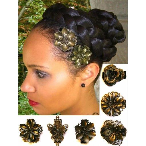 Hair Flower Set bronze, 2-6 pcs