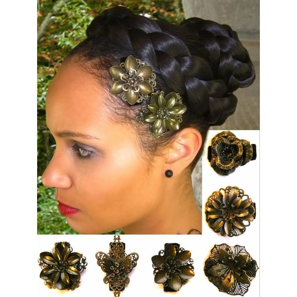 Hair Flower Set bronze, 2-6 pcs