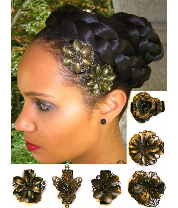Hair Flower Set bronze, 2, 3, 4, 5 or 6 pieces